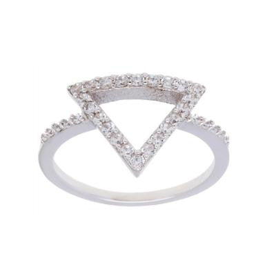 Sterling Silver CZ Open Triangle Ring