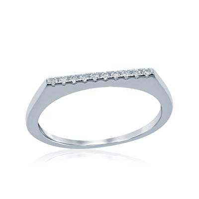 Sterling Silver CZ Thin Bar Ring