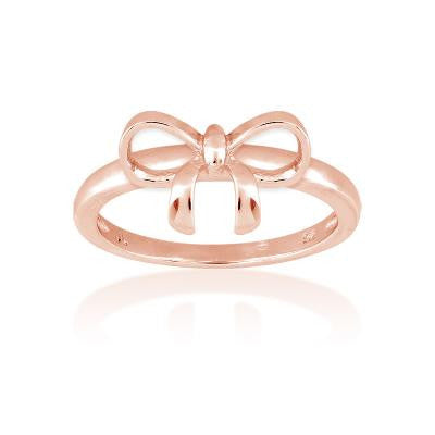 Sterling Silver Rose Gold Plated Small Bow Ring