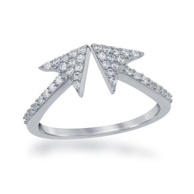 Sterling Silver CZ Double Arrow Ring