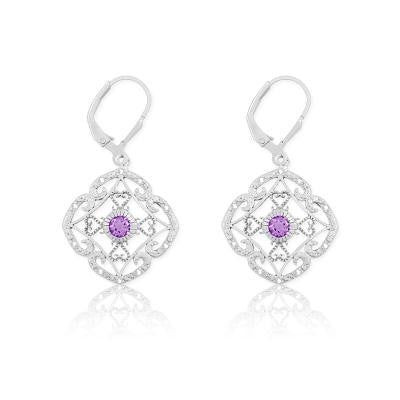 Sterling Silver Diamond & Amethyst Earrings
