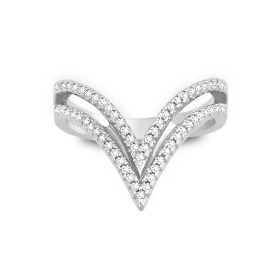Sterling Silver CZ  Double V Ring