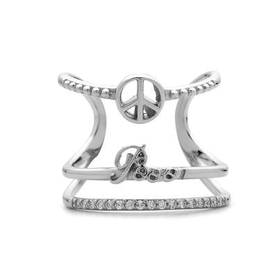 Sterling Silver CZ Peace Ring