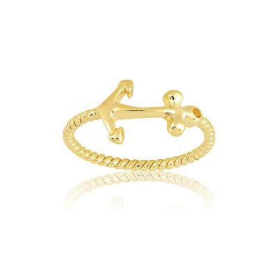Sterling Silver Gold Plated Anchor Ring