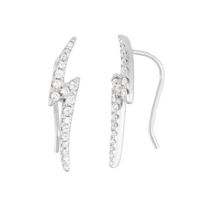 Sterling Silver CZ Lighting Bolt Climbers
