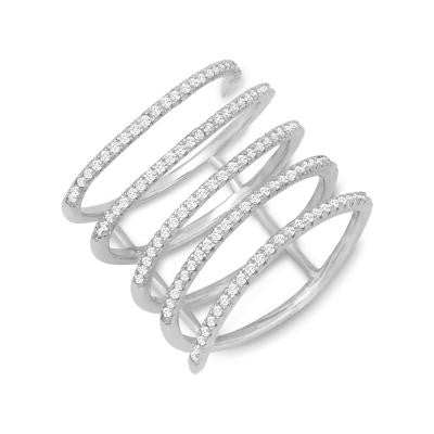 Sterling Silver CZ Spiral Ring