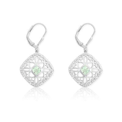Sterling Silver Diamond & Green Quartz Earrings
