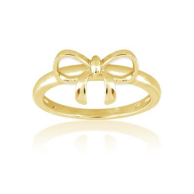 Sterling Silver Gold Plated Bow Ring