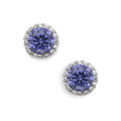 Sterling Silver Tanzanite Color CZ Studs