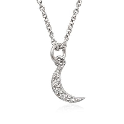 Sterling Silver CZ Tiny Moon