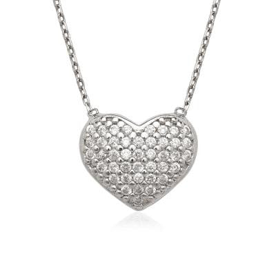 Sterling Silver CZ Puff Heart