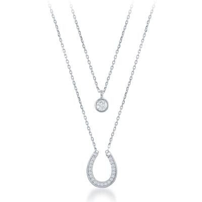 Double Necklace CZ & Horseshoe Necklace