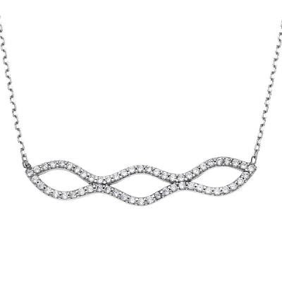 Sterling CZ Double Wavy Bar Necklace