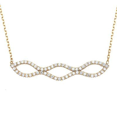 CZ Gold Double Wavy Bar Necklace
