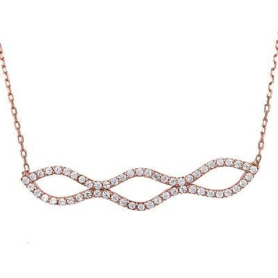 CZ Rose Double Wavy Bar Necklace