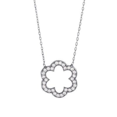 Sterling CZ Flower Necklace