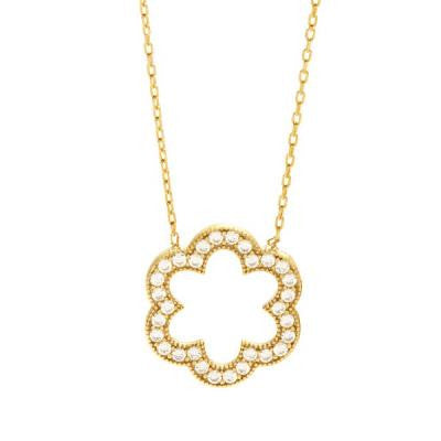 CZ Gold Flower Necklace