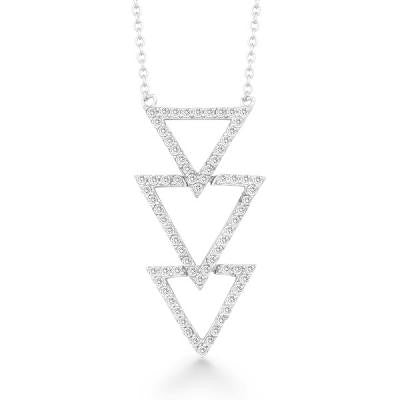 Sterling CZ Triple Triangle Necklace