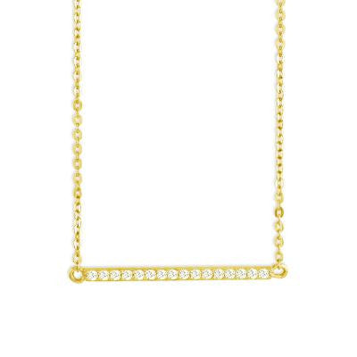 CZ Gold Thin Bar Necklace