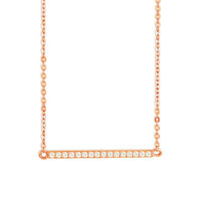 CZ Rose Thin Bar Necklace