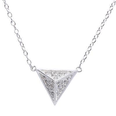Sterling CZ Pyramid Necklace