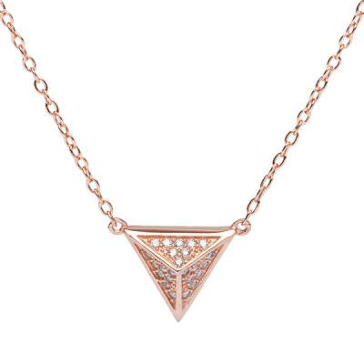 CZ Rose Pyramid Necklace