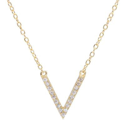 CZ Gold V Necklace