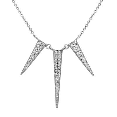 Sterling Silver CZ Spike Necklace