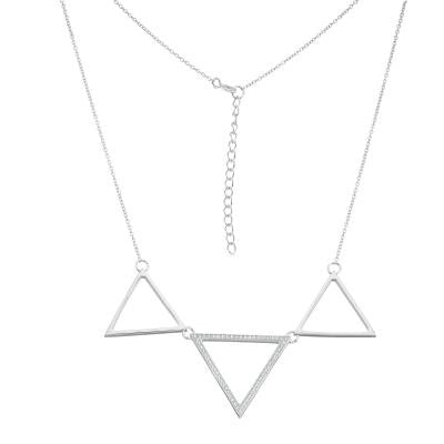 Sterling Silver CZ Triple Triangle Necklace