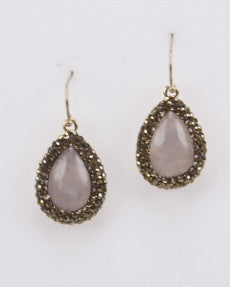 Fashion Earrings With Rose Quartz Stones