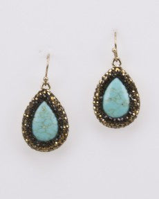 Fashion Earrings With Turquoise Color Stone