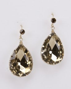 Fashion Earrings With Golden Crystal Stones