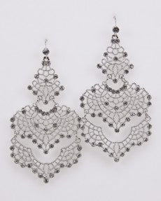 Fashion Earrings In Silver With Crystal