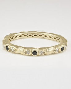 Bangle With Black & Clear Stones