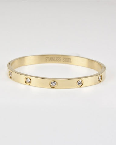 Stainless Steel Gold CZ Bangle