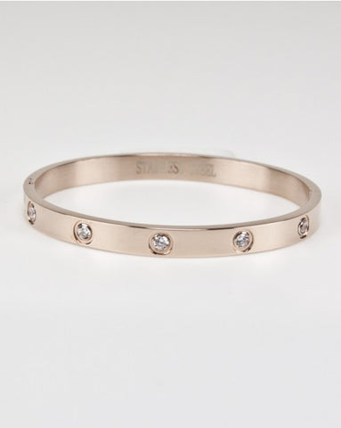 Stainless Steel Rose CZ Bangle