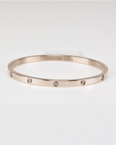 Stainless Bangle With CZs