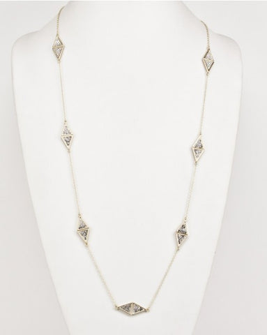 Long Fashion Necklace Gold & CZ