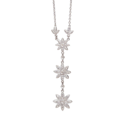 Diamond Flower Y Necklace
