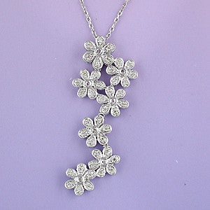Diamond Zig Zag Flower Necklace
