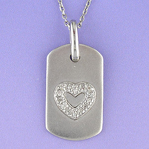 Diamond Heart Dog Tag