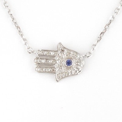 Diamond Sideways Hamsa Necklace