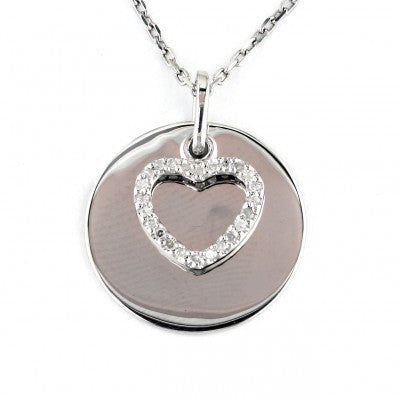 Sterling Diamond Heart Necklace