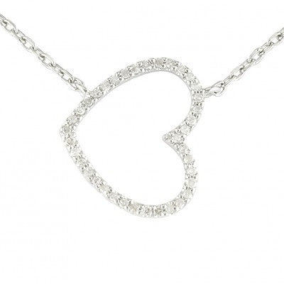Sterling & Diamond Heart Necklace