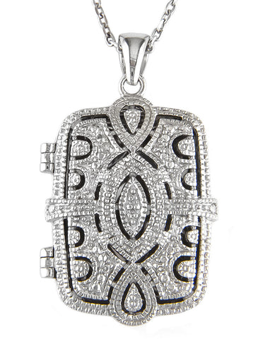 Sterling Silver & Diamond Rectangular Locket Necklace