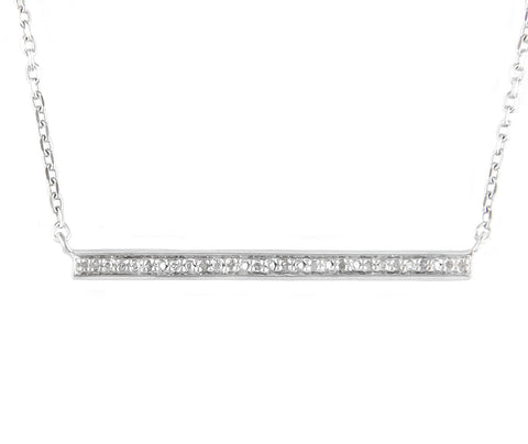 Sterling Silver Diamond Bar Necklace
