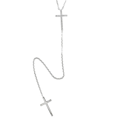 Sterling & Diamond Cross Y Necklace