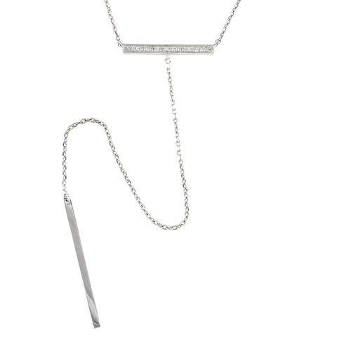 Sterling & Diamond Bar Y Necklace