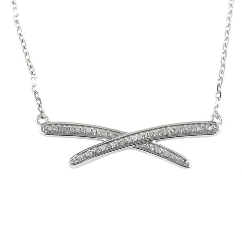 Sterling Silver Diamond Abstract X Necklace