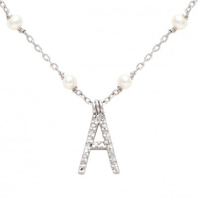Sterling Silver Diamond Initial Necklace